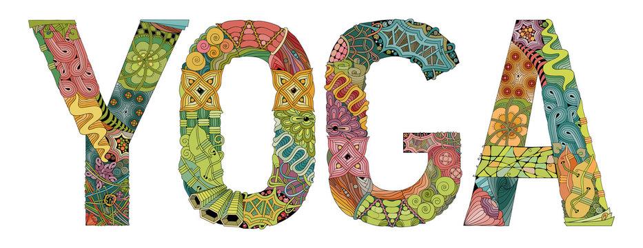 Word YOGA. Vector decorative zentangle object
