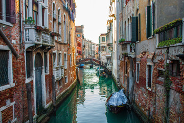 Venice City of Italy. View on Canal, Venetian Landscape with boats and gondolas