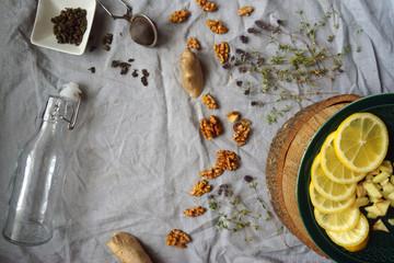 autumn mood. ginger tea. The composition of the product. lemon. hot winter drink. homemade lemonade. natural medicine