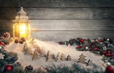 Geschmackvoller Hintergrund für Advent und Weihnachten im Laternenlicht