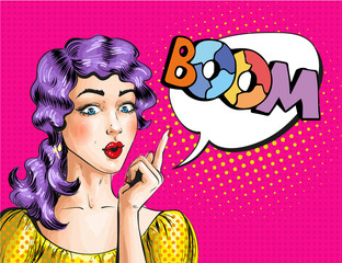 Vector pop art illustration of woman showing BOOM sign