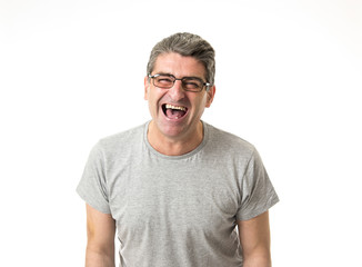 white man 40 to 50 years old smiling happy showing nice and positive face expression isolated on grey background