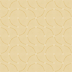 Abstract Circle Pattern. Yellow Seamless Background in Vector