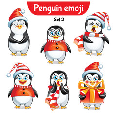 Vector set of christmas penguin characters. Set 2