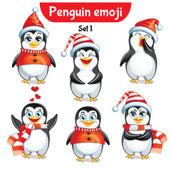 Vector set of christmas penguin characters. Set 1