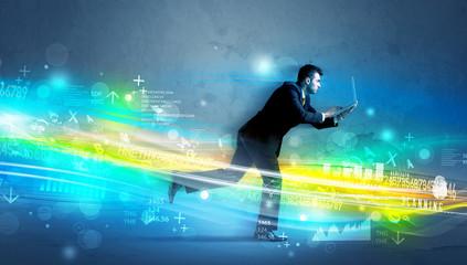 Business man running in high tech wave concept