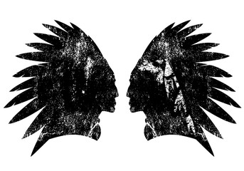 Native american indian warrior profile with feather headdress - black and white vector design