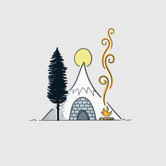 Tents in the high mountains, snowy frosty during a family vacation.Vector winter wonderland night background. Snowy mountain. Winter time