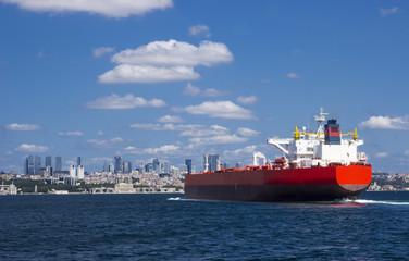 big red tanker near istanbul