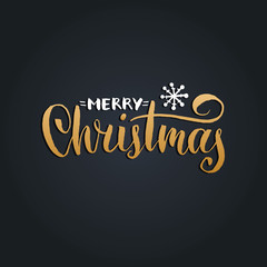 Vector Merry Christmas lettering with New Year snowflake on black background. Happy Holidays typography.