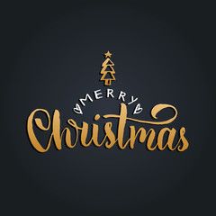 Vector Merry Christmas lettering with New Year spruce on black background. Happy Holidays typography.