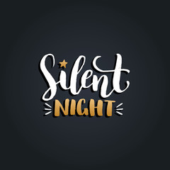 Vector Silent Night lettering design on black background. Christmas or New Year typography for greeting card template.