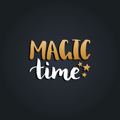 Vector Magic Time lettering design on black background. Christmas or New Year typography for greeting card template.