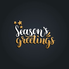 Vector Seasons Greetings lettering design on black background. Christmas,New Year typography for greeting card template.
