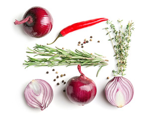Beautiful composition with red onion on white background