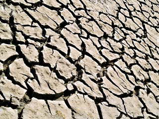 cracked ground due to extreme drought