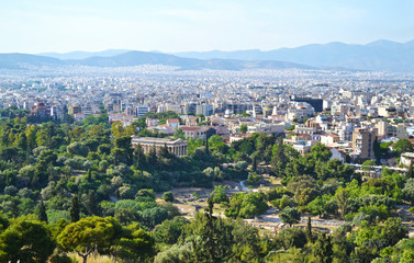 cityscape of Athens Greece with the Temple of Hephaestus view