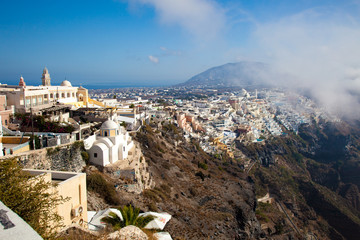 Village of Oia in Santorini Greece fog