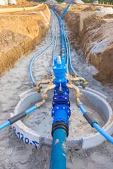 Baustelle für eine neue Wasserleitung im Baugebiet