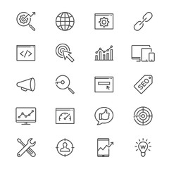 Search engine optimization thin icons