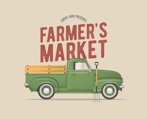 Farmer's Market Themed Vintage styled Vector Illustration of the old school Farmer's Green Pickup Truck
