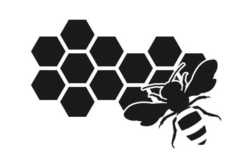 Bee icon or silhouette, honeycomb