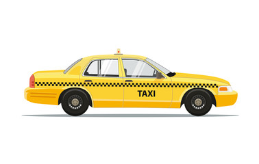 Aluminium Prints New York TAXI Taxi Yellow Car Cab Isolated on white background. Vector Illustration.