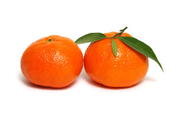 Tangerine or clementine with green leaf