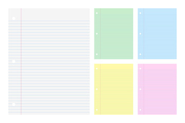 Vector illustration of filler Papers college ruled in white and differnts colors