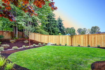 Nice fenced backyard with new planting beds