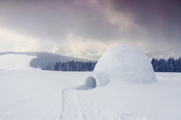 real igloo in the mountains