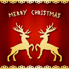 Merry Christmas. Illustration of reindeer on a red background