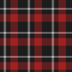 Red and white plaid pattern on black background