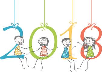 Bonne année 2018 Des hommes, femmes ou enfants sur leschiffres de 2018 pour la nouvelle année