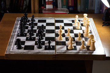 chess board from the side with multiple moves made