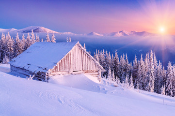 sunrise in winter mountain