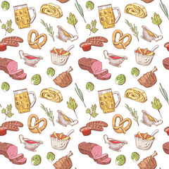 German Traditional Food Hand Drawn Seamless Pattern. Germany Cuisine Background. Food and Drink. Vector illustration