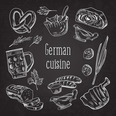 German Traditional Food Hand Drawn Chalkboard Doodle. Germany Cuisine Menu Template. Food and Drink. Vector illustration