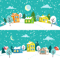 Winter Christmas town. Snowy village landscape. Merry Christmas and Happy New Year card and banner. Vector flat cartoon illustration.