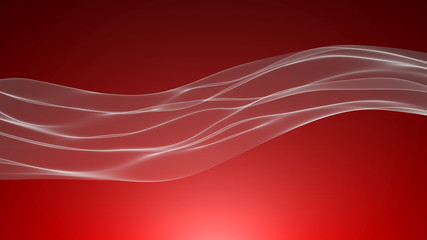 Abstract white wave in the slow motion on the red background