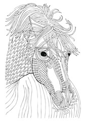 Horse. Hand drawn picture. Sketch for anti-stress adult coloring book in zen-tangle style. Vector illustration for coloring page.