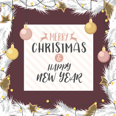 Christmas and happy new year with gold and rose gold decorated ball gift of pine branches in background. illustration Vector