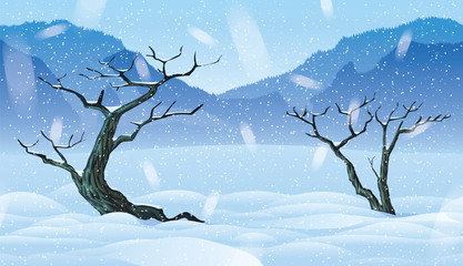 Horizontal seamless background of landscape with winter forest.
