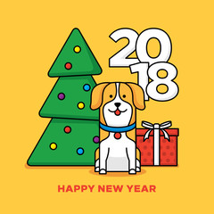 2018 Happy New Year design with yellow dog