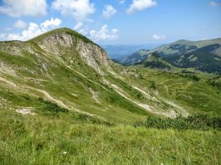 Paesaggio verdeggiante delle montagne rocciose del Montenegro.