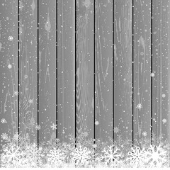 Christmas snow gray wood background
