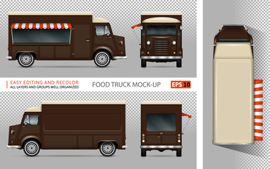 Food truck vector mock-up for advertising, corporate identity. Isolated mobile coffee van template on transparent background. Vehicle branding mockup. View from side, front, back, top.