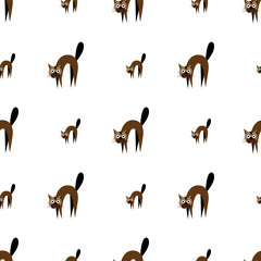 Stylish cats pattern on a white background. Vector illustration texture