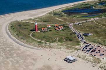 Luftbild vom Leuchtturm auf Texel an der Nordsee Wall mural
