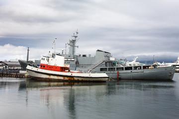 various ships in Reykjavik city port in autumn